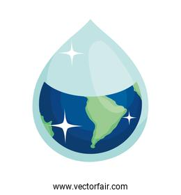 earth in water drop shape, colorful design