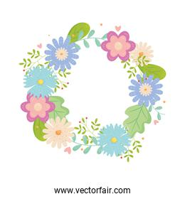 wreath of flowers and leaves, colorful design