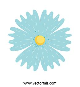 beautiful blue flower icon, colorful design