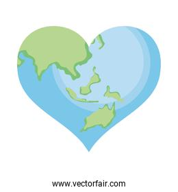earth planet in heart shape, colorful design