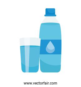 water bottle and glass, colorful design