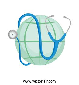 stethoscope on global sphere, colorful design