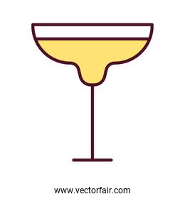 wine cup with yellow beverage line and fill style icon