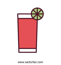 cocktail in glass with lemon slice line and fill style icon