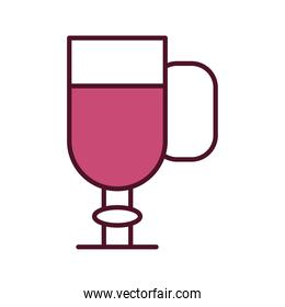 wine cup with pink beverage line and fill style icon