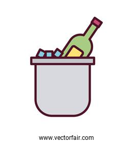 beverage bottle green in ice cubes bucket line and fill icon