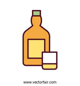 beverage yellow bottle with cup line and fill icon