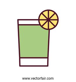 cocktail in glass with lemon line and fill style icon