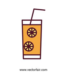 cocktail in glass with slices fruits and straw line and fill style icon