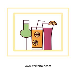 cocktails in glasses and cups with slices fruits and straw line and fill style icon