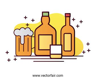 beverage yellow bottles with cup and beer line and fill icon