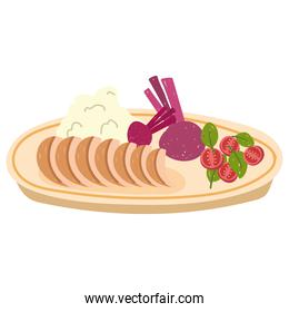 healthy food salad vegetables puree and meat flat icon style