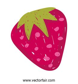 healthy food fresh fruit strawberry flat icon style