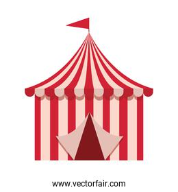amusement park tent with flag carnival flat design