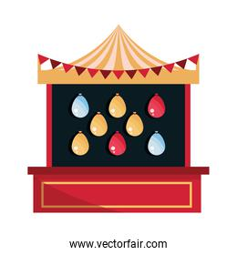 amusement park carnival shooting game with targets balloons booth flat design