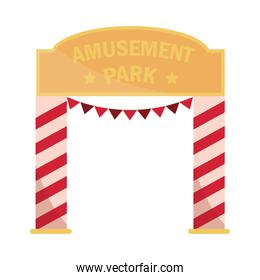 entrance with pennants amusement park carnival flat