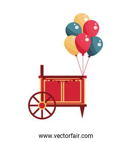 amusement park carnival booth with balloons flat design