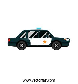 police car transport vehicle side view, car icon vector