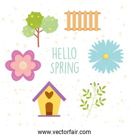 hello spring design with flowers and related icons around