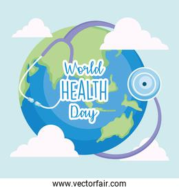 world health day concept, earth planet with stethoscope, colorful design