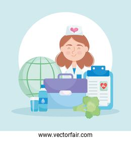 cartoon nurse with world health day related icons, colorful design