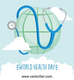 world health day concept, global sphere and stethoscope, colorful design