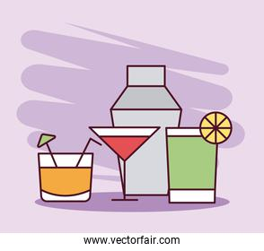 cocktails in glasses with fruits and umbrella line and fill style icon