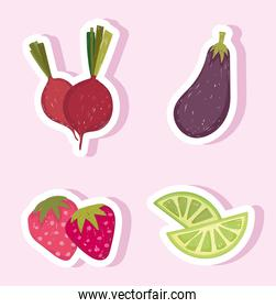 healthy food vegetable and fruit eggplant lemon and beetroot