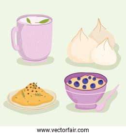 healthy food tea cup cereal rice and garlic icons