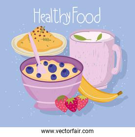 healthy food cereal tea cup fruits and rice