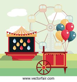 amusement park carnival shooting booth balloons and ferris wheel