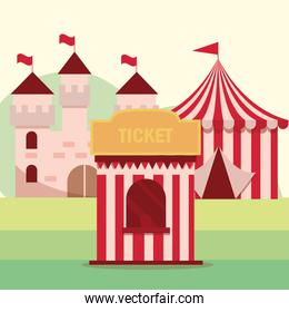 amusement park carnival tickets booth tent and castle