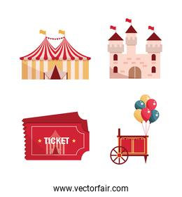 amusement park carnival tent castle tickets balloons booth