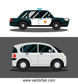 compact car and police vehicle transport, city transport