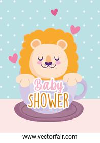 Baby shower little lion on cup lovely invitation card