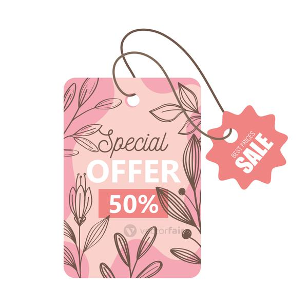 sale spring season offer tags hanging