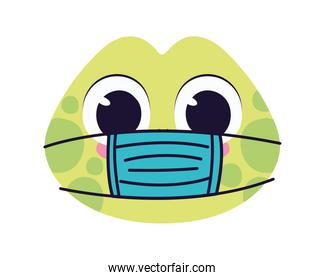 cute turtle with safety mask on a white background
