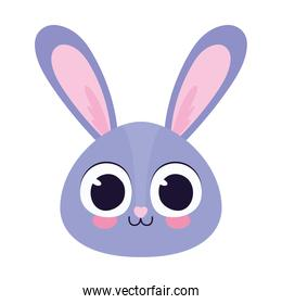 cute bunny head lilac  in a white background