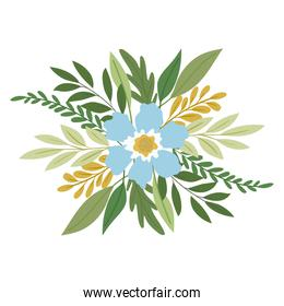 flower and leafs  with a blue color over a white background