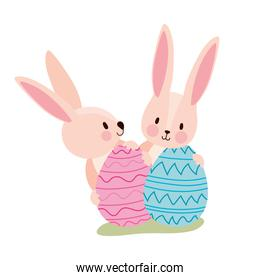 two pink rabbits with easter eggs
