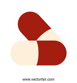 pills of a red and white color