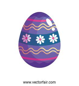 happy easter celebration purple egg painted with flowers