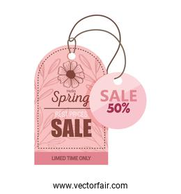 sale spring season deals tags hanging