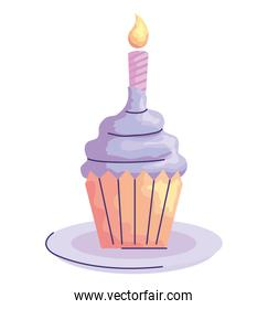 sweet cupcake with candle birthday acuarela style icon
