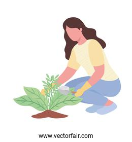 woman with spatule gardening activity character