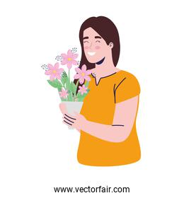 young woman with flowers bouquet decoration character