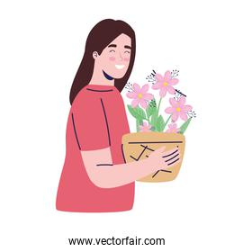 young woman with flowers in houseplant decoration character