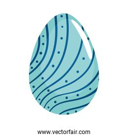 happy easter blue egg painted with lines