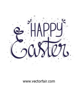 happy easter lettering card in white background