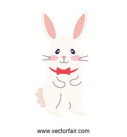 happy easter season card with cute rabbit wearing bowtie
